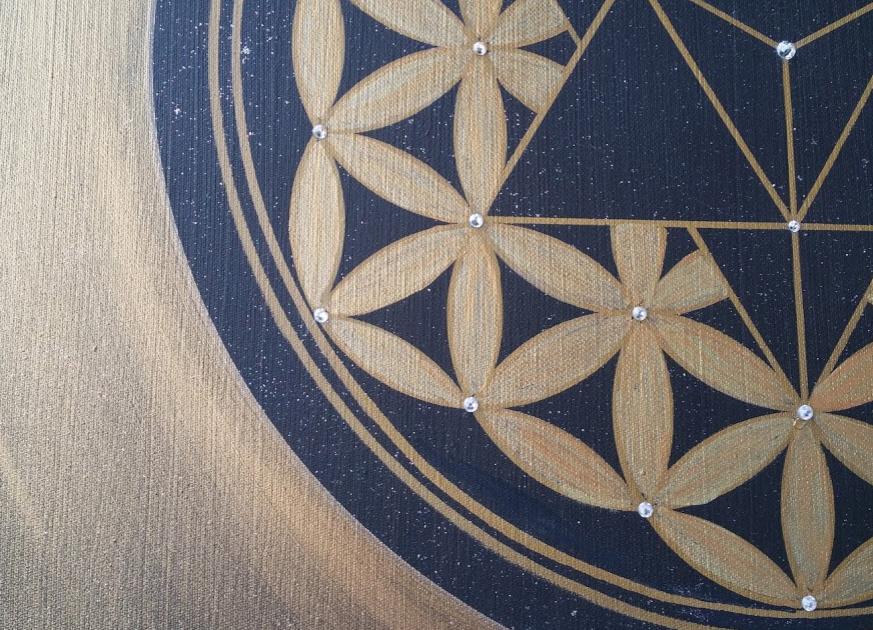 Merkaba und Blume des Lebens abstractes Gemälde Leinwandbilder Acryl handgemalt