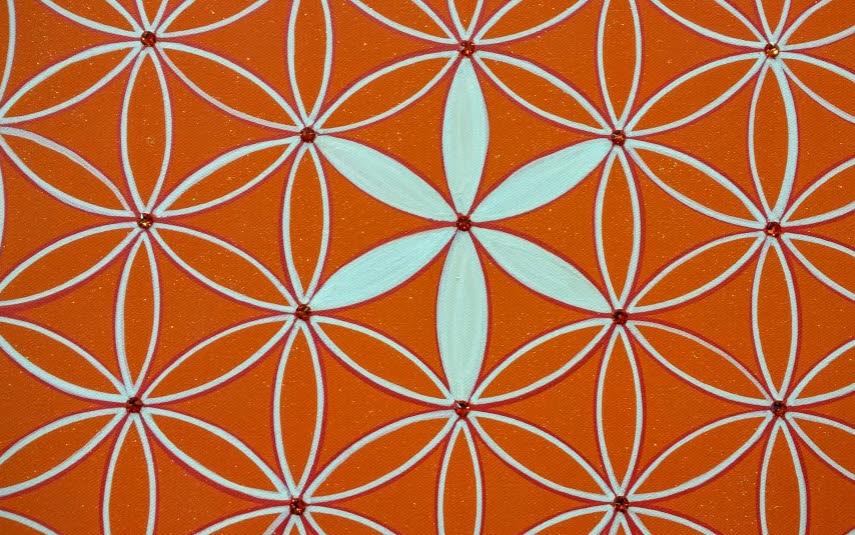 Blume des Lebens Wandbild Acryl handgemalte Unikate